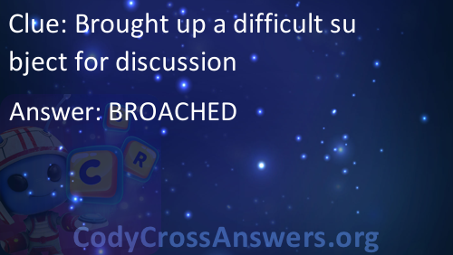 Brought Up A Difficult Subject For Discussion Answers Codycrossanswers Org